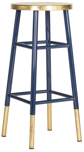 Emery Dipped Gold Leaf Barstool Navy / Bar Chair