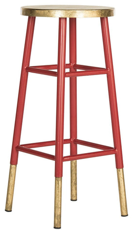Emery Dipped Gold Leaf Barstool Red / Bar Chair
