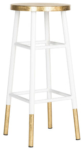 Emery Dipped Gold Leaf Barstool White / Bar Chair