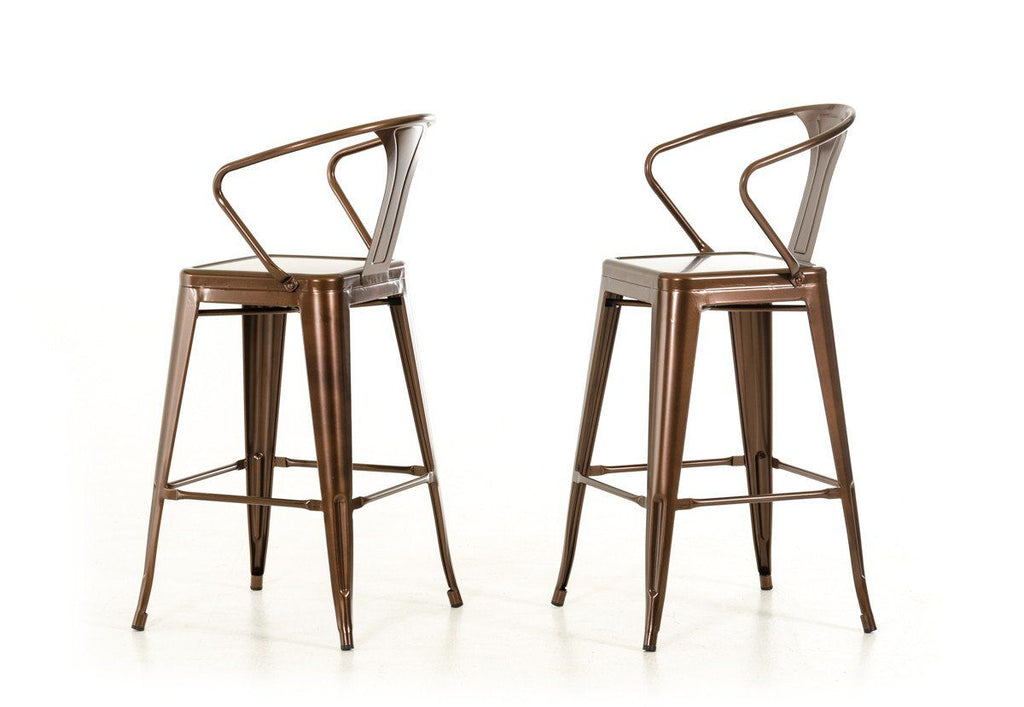 Modrest Ned Modern Copper Bar Stool (Set Of 2) Chair ...