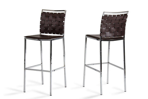 Modrest Shasta Modern Brown Eco-Leather Bar Stool (Set Of 2) Chair
