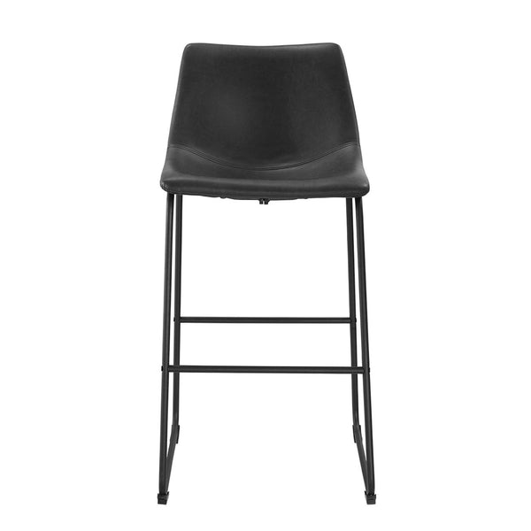 ... Industrial Vegan Leather Bar Stools   Black (Set Of 2) Chair ...