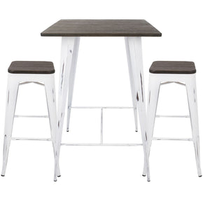 Bar Sets - Lumisource B-OR3PC VW+E Oregon Industrial Pub Set Vintage White, Espresso | 681144428938 | Only $379.98. Buy today at http://www.contemporaryfurniturewarehouse.com