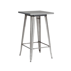 Bar Tables - Design Lab MN LS-9110-GUN Sundsvall Clear Gunmetal Steel Bar Table 42 | 637262593638 | Only $174.80. Buy today at http://www.contemporaryfurniturewarehouse.com
