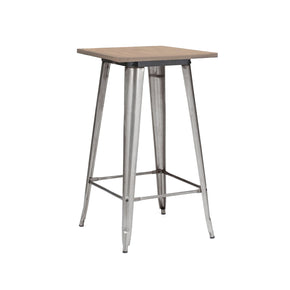 Sundsvall Clear Gunmetal + Light Elm Wood Top Steel Bar Table 42