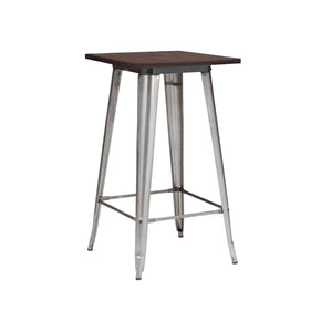 Sundsvall Clear Gunmetal + Elm Wood Top Steel Bar Table 42