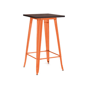 Sundsvall Glossy Orange + Elm Wood Steel Top Bar Table 42