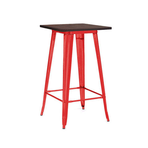 Sundsvall Glossy Red + Elm Wood Steel Top Bar Table 42