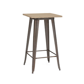 Sundsvall Rustic Matte + Light Elm Wood Top Steel Bar Table 42