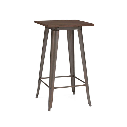 Design Lab MN Sundsvall Rustic Matte + Elm Wood Top Steel Bar Table 42 LS-9110-RMTW | 637262593645| $204.80. Bar Tables - . Buy today at http://www.contemporaryfurniturewarehouse.com