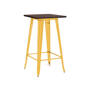 Sundsvall Glossy Yellow + Elm Wood Steel Top Bar Table 42
