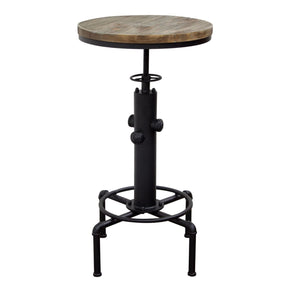 Brooklyn Adjustable Height Bistro Table With Weathered Grey Top And Black Powder Coat Hydrant Base Bar