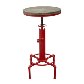 Brooklyn Adjustable Height Bistro Table With Weathered Grey Top And Red Powder Coat Hydrant Base Bar
