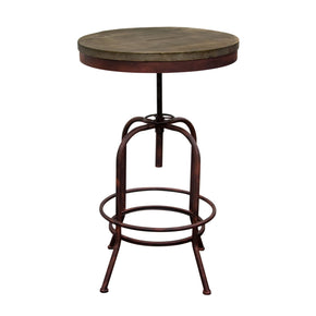 Fairfax Adjustable Height Bistro Table With Weathered Grey Top And Rust Black Iron Base Bar