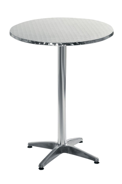 Allan Bar Table In Stainless Steel With Aluminum Base And Column