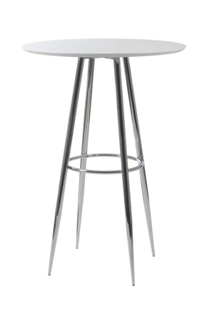 Bravo Bar Table In Matte White Lacquer With Chromed Steel Base