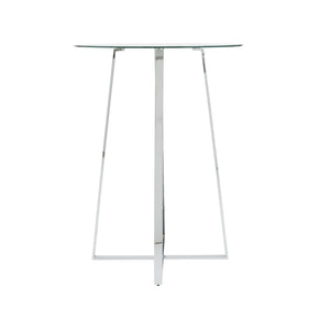 Ursula Bar Table In Clear Tempered Glass With Steel Base