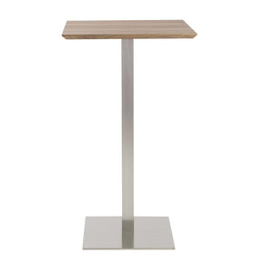 Elodie Bar Table In Walnut With Brushed Stainless Steel Base And Column