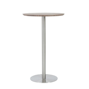 Cookie Bar Table In Walnut With Brushed Stainless Steel Base And Column