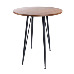 Amir 36 Round Bar Table In Walnut With Black Powder Coated Steel Legs