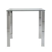 Beth Rectangle Bar Table Clear Tempered Glass Top With Polished Stainless Steel Legs