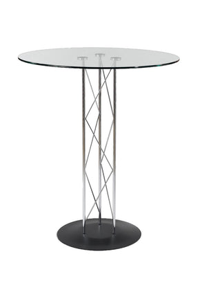 Trave 32 Round Bar Table In Clear Tempered Glass With Chrome Column And Black Base