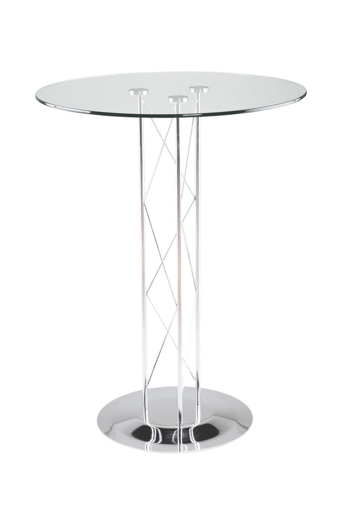 Trave 32 Round Bar Table In Clear Tempered Glass With Chrome Column And Base