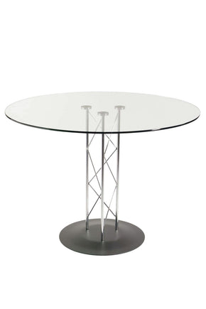 Trave 36 Round Bar Table In Clear Tempered Glass With Chrome Column And Black Base