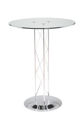 Trave 36 Round Bar Table In Clear Tempered Glass With Chrome Column And Base