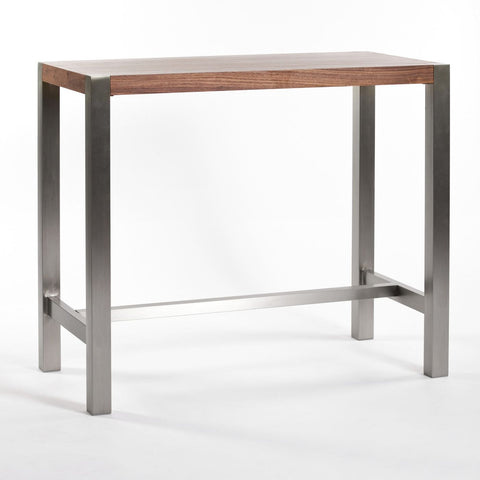 Riva Bar Table Walnut Brushed Stainless Steel