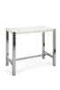 Riva Bar Table White High Gloss Lacquer Brushed Stainless Steel