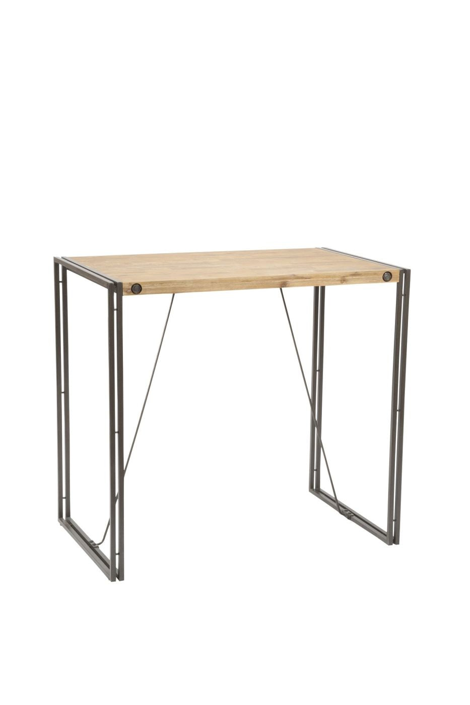 Brooklyn bar table acacia wood powder coated steel touch to zoom