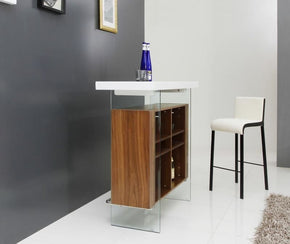 Modrest Sven Contemporary White & Walnut Floating Bar Table