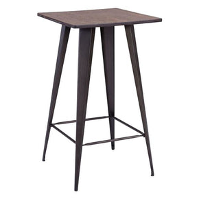 Titus Bar Table Rusty & Elm Wood Top Steel