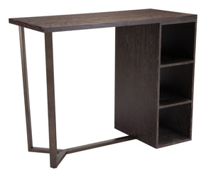 Brooklyn Storage Bar Table Grey Oak & Antique Brass