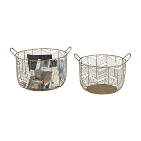Tuckernuck 2-Piece Metal Bowl Set In Gold Basket
