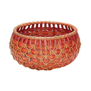 Small Fish Scale Basket In Red And Orange Red,orange
