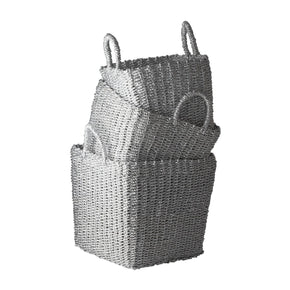 Nested Recycled Twisted Silver Foil Baskets - Set Of 3 Basket