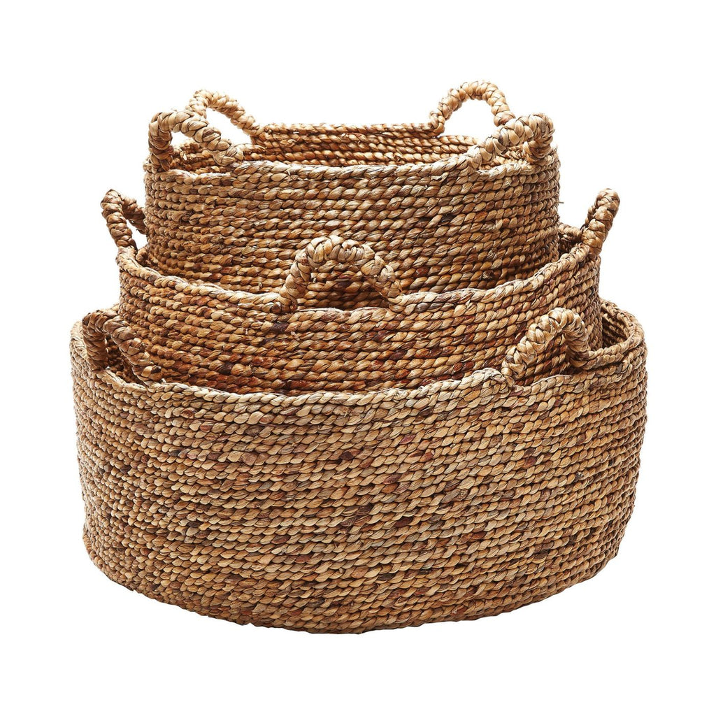Natural Low Rise Baskets - Set Of 3 Brown Basket