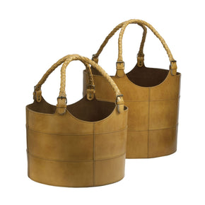 Nested Caramel Leather Buckets - Set Of 2 Brown Basket