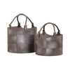 Nested Gunmetal Leather Buckets - Set Of 2 Silver Basket