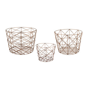 Nested Geometric Copper Baskets Basket