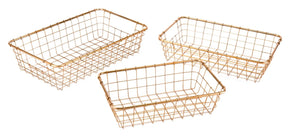 Set Of 3 Baskets Gold Basket