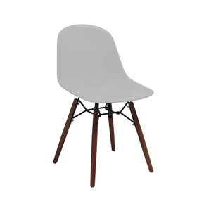 DesignLab MN LS-9441-PLTWAL Grazia Platinum Mid Century Side Chair Walnut Base Original Design (Set of 4) 646263991510