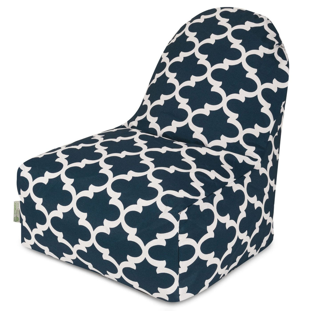 Navy Trellis Kick-It Chair Bean Bag
