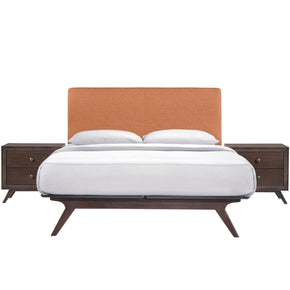 Tracy 3 Piece Queen Bedroom Set Cappuccino Orange