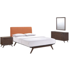 Tracy 4 Piece Queen Bedroom Set Cappuccino Orange