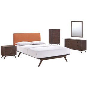 Tracy 5 Piece Queen Bedroom Set Cappuccino Orange