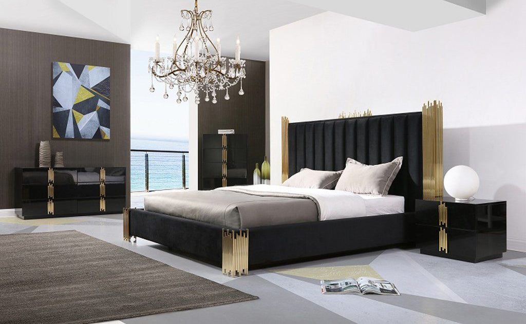 Modrest Token Modern Black & Gold Bedroom Set - Queen