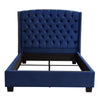 Majestic Eastern King Tufted Bed in Royal Navy Velvet with Nail Head Wing Accents
